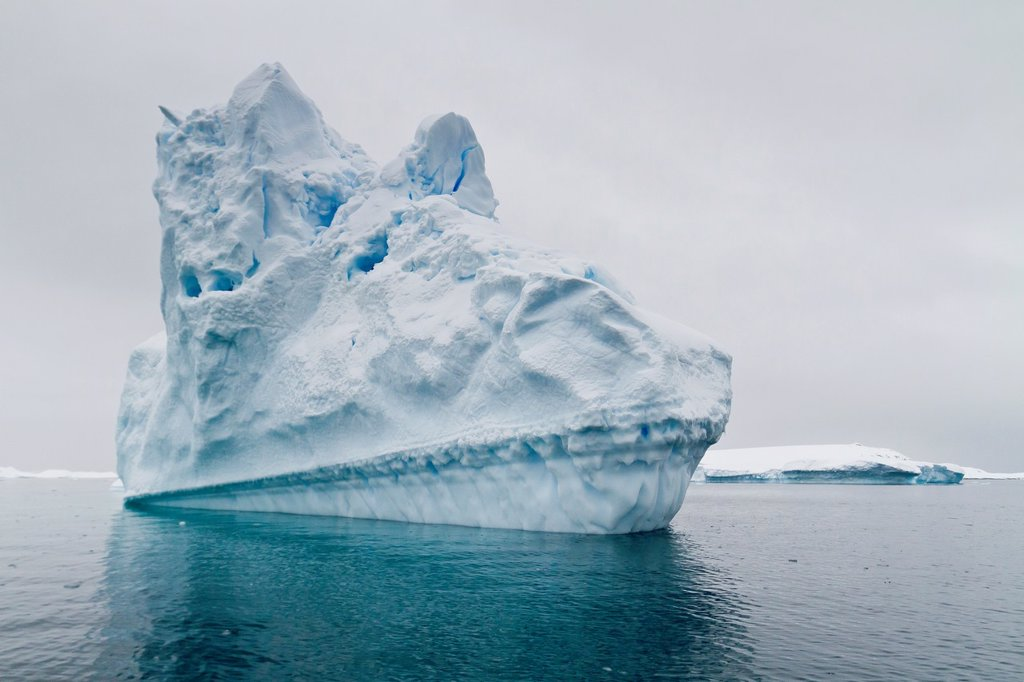Icebergs near the Antarctic Peninsula during the summer months, Antarctica, Southern Ocean : Stock Photo