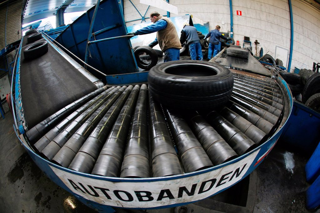 Stock Photo: 1566-977852 Recycling of tyres The best are stored and shipped to third world countries the bad tires are shredded into granulate and processed for different purposes All municipalities in The Netherlands are required to provide known collection points for recyclable