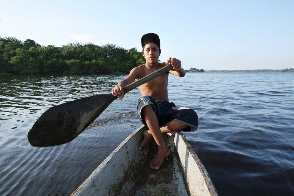 Fishing is the main income of the population near the river Magdalena : Stock Photo