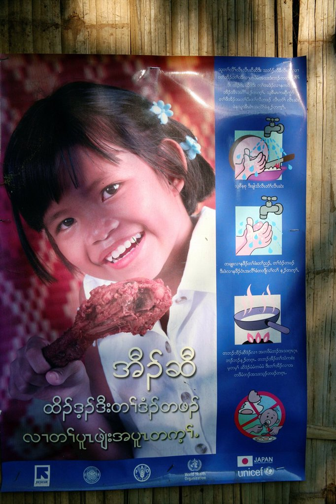 Stock Photo: 1566-978251 Public health poster promoting good cooking practices in Mae Sot Around 130,000 Burmese refugees have settled in Thailand due to opression in their homeland of Myanmar Burma Approximately 30,000 refugees now live in Mae Sot western Thailand and receive hu