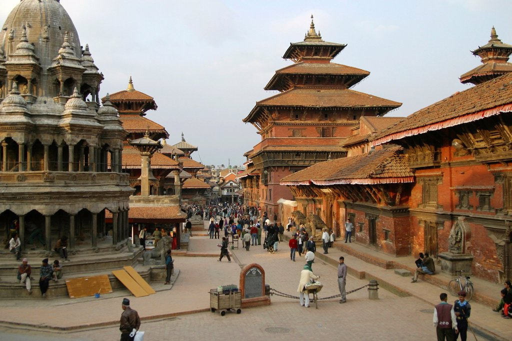 Temples around old Durbar and Basantapur square in Katmandu : Stock Photo
