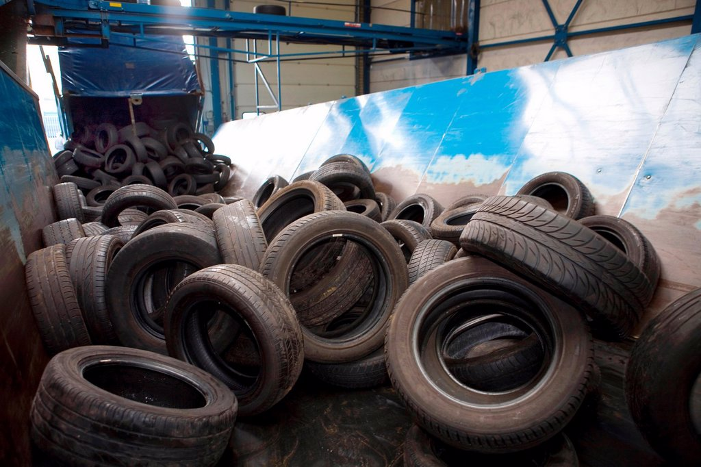 Stock Photo: 1566-978339 Recycling of tyres The best are stored and shipped to third world countries the bad tires are shredded into granulate and processed for different purposes All municipalities in The Netherlands are required to provide known collection points for recyclable