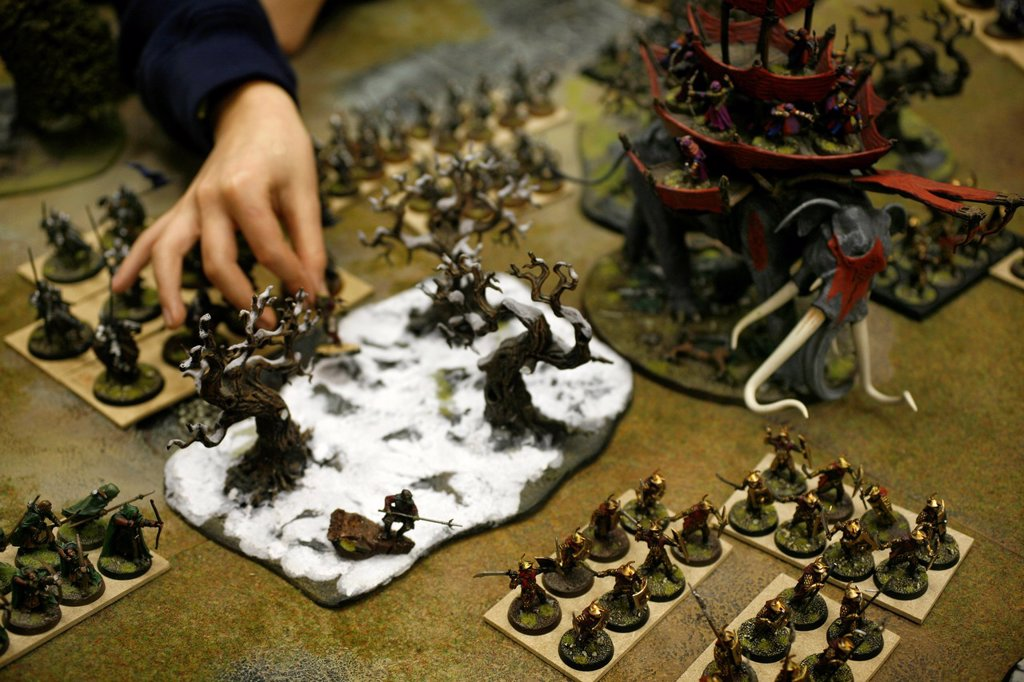 Stock Photo: 1566-979302 Games Workshop is originally from England but now also very popular in the Netherlands It is a game that consists of miniature dolls armies made of tin and plastic that you own together and paint You consider war with puppets on a special setting Not only