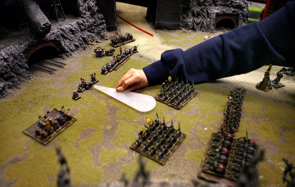 Stock Photo: 1566-979317 Games Workshop is originally from England but now also very popular in the Netherlands It is a game that consists of miniature dolls armies made of tin and plastic that you own together and paint You consider war with puppets on a special setting Not only