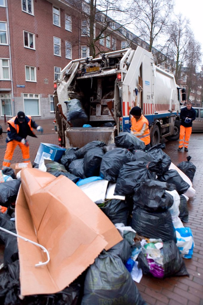 Collection of waste disposal in Amsterdam the Nethrlands Carbage is being incinerated in powerstations for generating electricty : Stock Photo
