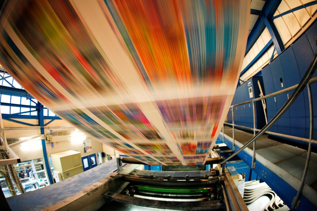 Dijkman Offset printing This company prints the financieel dagblad Dutch financial times , kidsweek and other media : Stock Photo