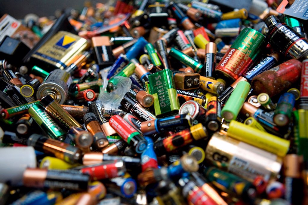 Stock Photo: 1566-979366 Recycling of batteries All municipalities in The Netherlands are required to provide known collection points for recyclable and/or hazardous materials All types of separated trash can be accepted here for free or a small sum depending on type of material