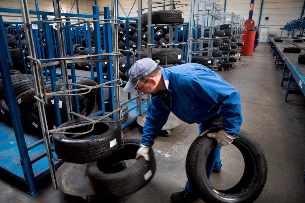 Stock Photo: 1566-979467 Recycling of tyres The best are stored and shipped to third world countries the bad tires are shredded into granulate and processed for different purposes All municipalities in The Netherlands are required to provide known collection points for recyclable