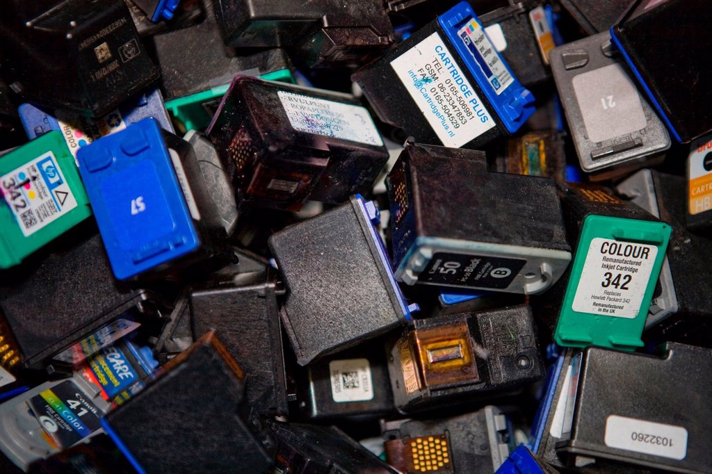 Stock Photo: 1566-979479 Recyling of cartridges All municipalities in The Netherlands are required to provide known collection points for recyclable and/or hazardous materials All types of separated trash can be accepted here for free or a small sum depending on type of material
