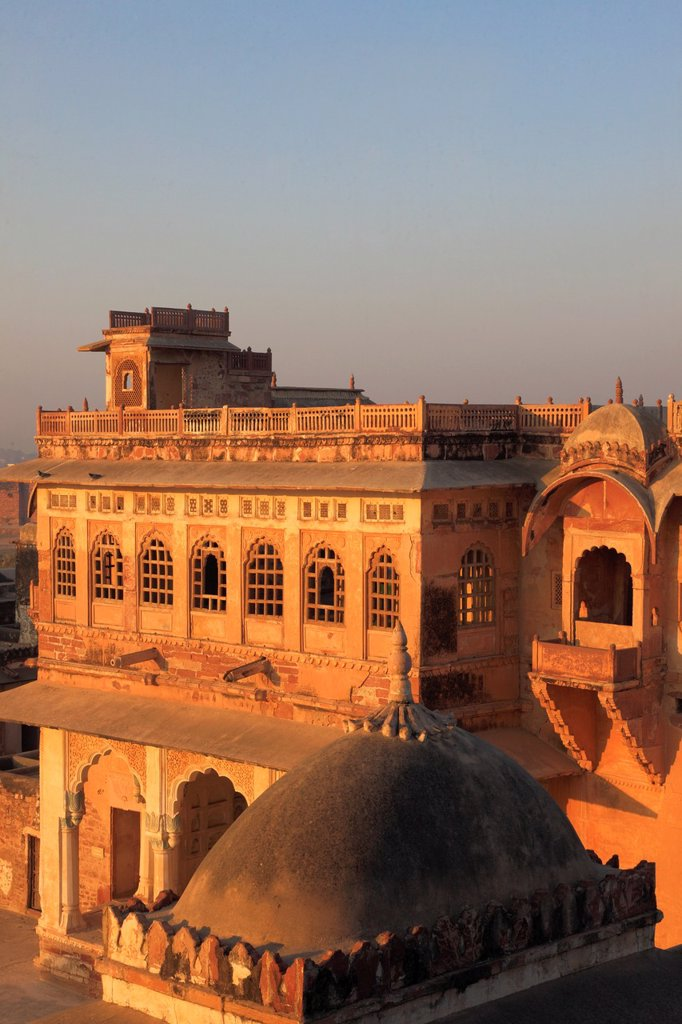India, Rajasthan, Nagaur, Ahhichatragarh Fort, Fort of the Hooded Cobra, Bakht Singh Mahal, : Stock Photo