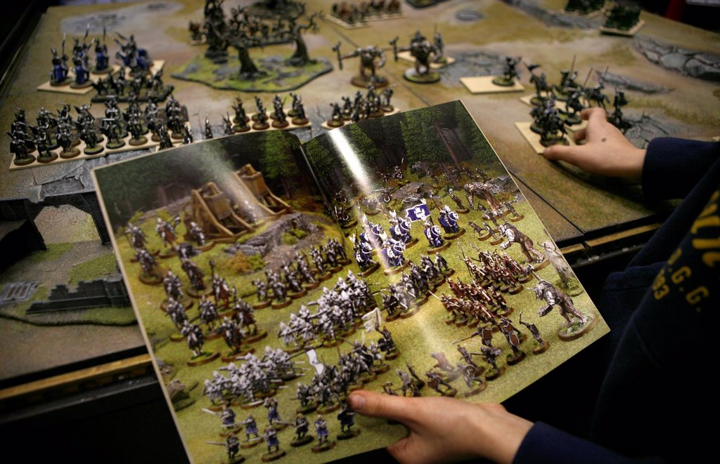 Stock Photo: 1566-980249 Games Workshop is originally from England but now also very popular in the Netherlands It is a game that consists of miniature dolls armies made of tin and plastic that you own together and paint You consider war with puppets on a special setting Not only