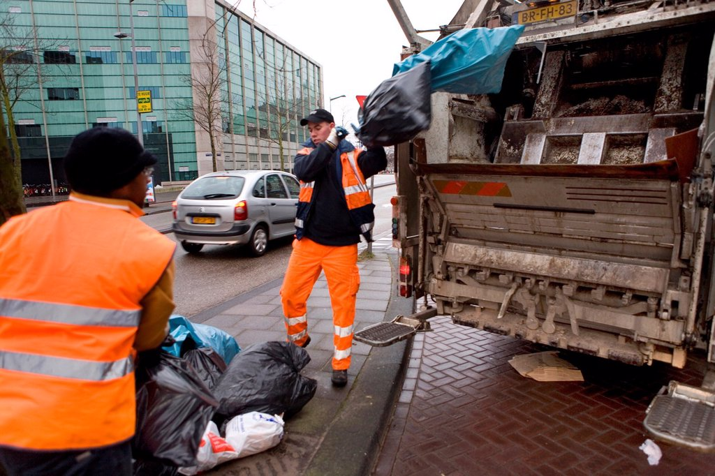 Stock Photo: 1566-980261 Collection of waste disposal in Amsterdam the Nethrlands Carbage is being incinerated in powerstations for generating electricty