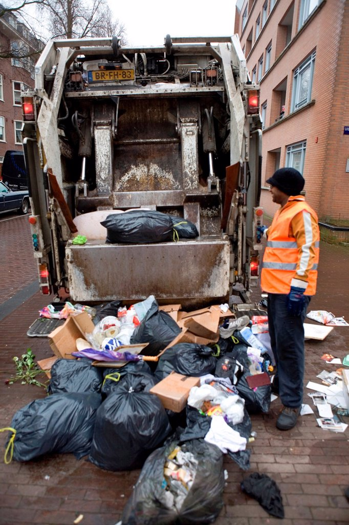 Stock Photo: 1566-980268 Collection of waste disposal in Amsterdam the Nethrlands Carbage is being incinerated in powerstations for generating electricty
