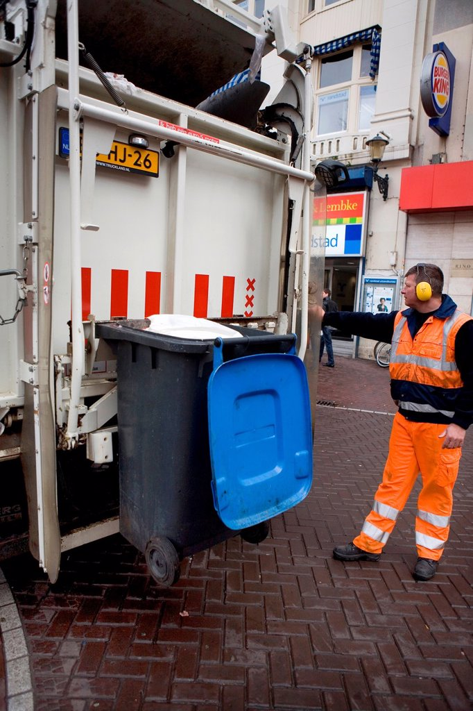 Stock Photo: 1566-980283 Collection of waste disposal in Amsterdam the Nethrlands Carbage is being incinerated in powerstations for generating electricty