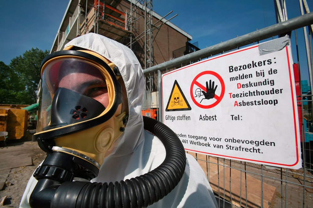 Stock Photo: 1566-980480 Recycling of Asbestos All municipalities in The Netherlands are required to provide known collection points for recyclable and/or hazardous materials All types of separated trash can be accepted here for free or a small sum depending on type of material g
