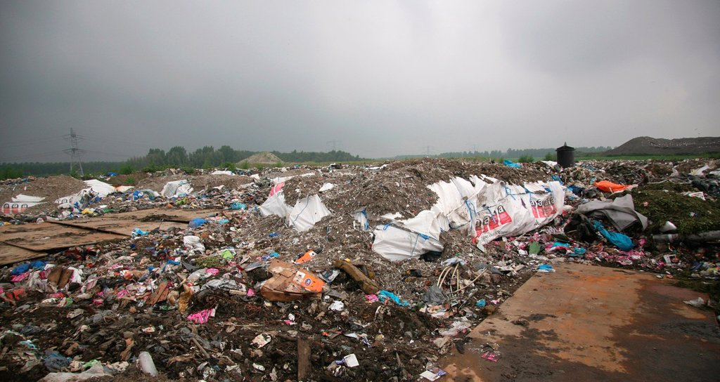 Waste dump in The netherlands All municipalities in The Netherlands are required to provide known collection points for recyclable and/or hazardous materials All types of separated trash can be accepted here for free or a small sum depending on type of ma : Stock Photo