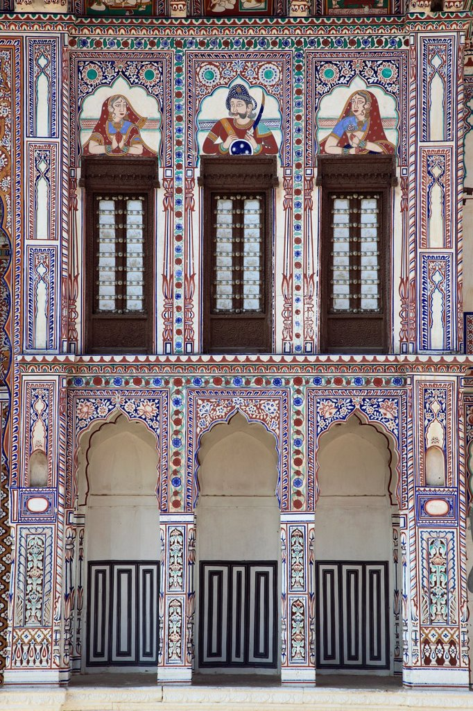 India, Rajasthan, Shekhawati, Fatehpur, Jagannath Singhania Haveli, : Stock Photo