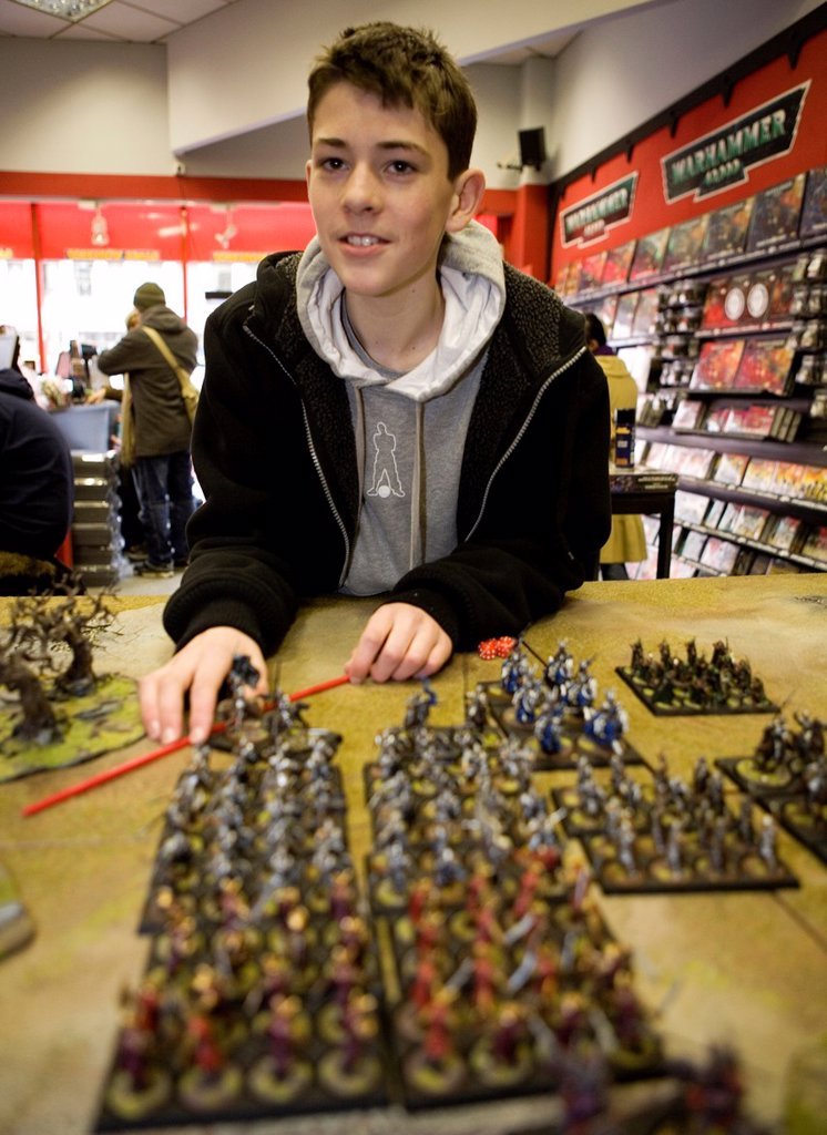 Stock Photo: 1566-981020 Games Workshop is originally from England but now also very popular in the Netherlands It is a game that consists of miniature dolls armies made of tin and plastic that you own together and paint You consider war with puppets on a special setting Not only