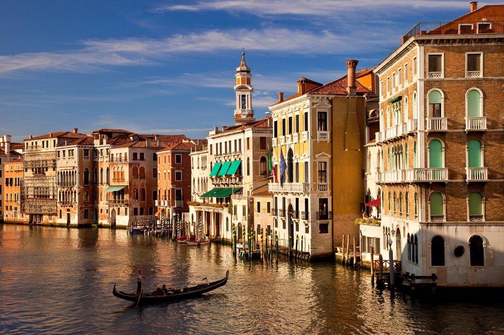 Stock Photo: 1566-981344 Early evening view down the Grand Canal from the Rialto Bridge, Venice Veneto Italy