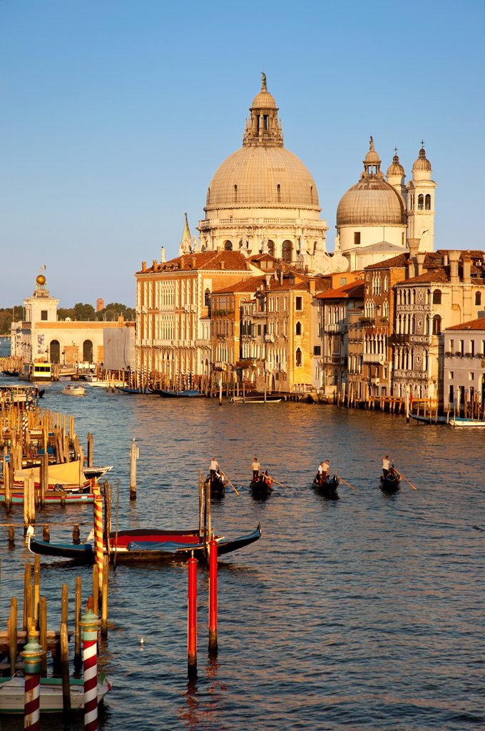 Stock Photo: 1566-981526 Glow of the setting sun on the Grand Canal with Santa Maria della Salute in the background, Venice Veneto Italy