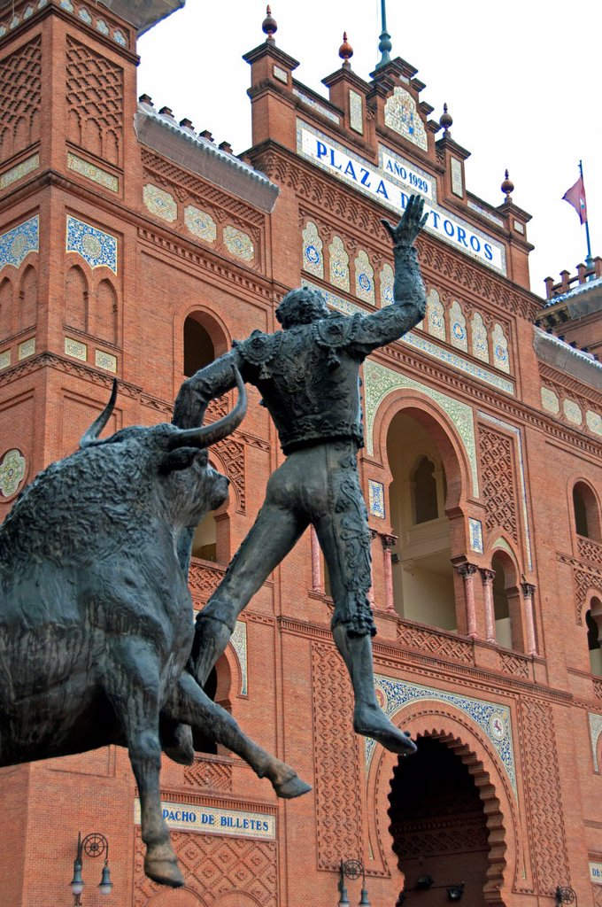 Stock Photo: 1566-981670 Monument memorial to bullfighter José Cubero Sánchez El Yiyo by Luis A. Sanguino, in front of Bullring Plaza de Toros de Las Ventas, The last matador to die from a goring in Spain, 1985, Spain Square, Madrid, Spain