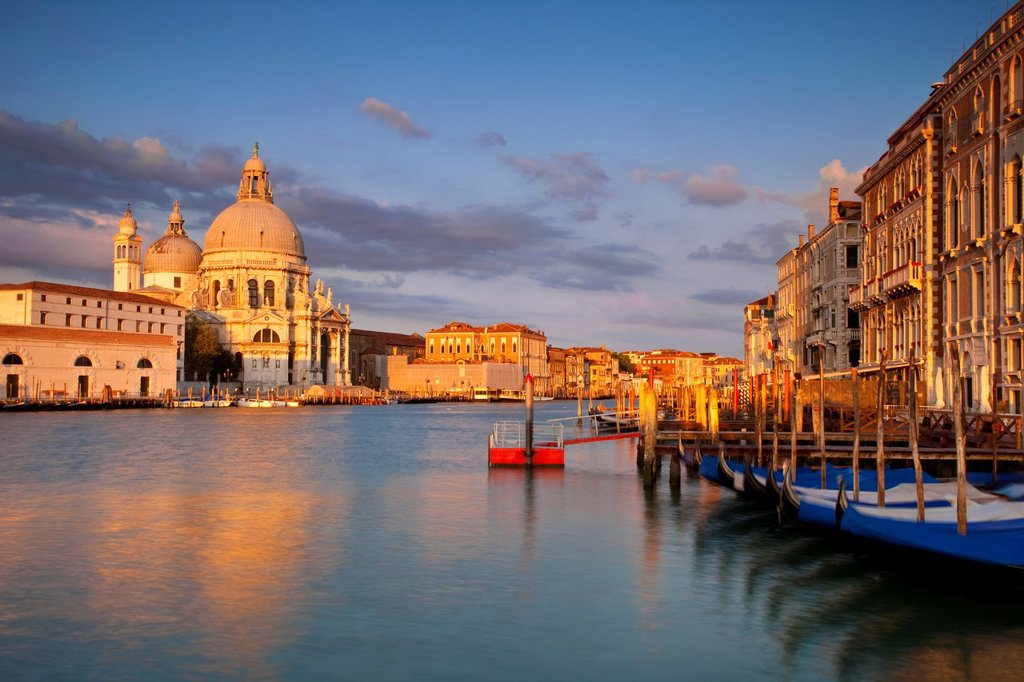 Sunrise over Santa Maria della Salute along the Grand Canal, Venice Veneto Italy : Stock Photo
