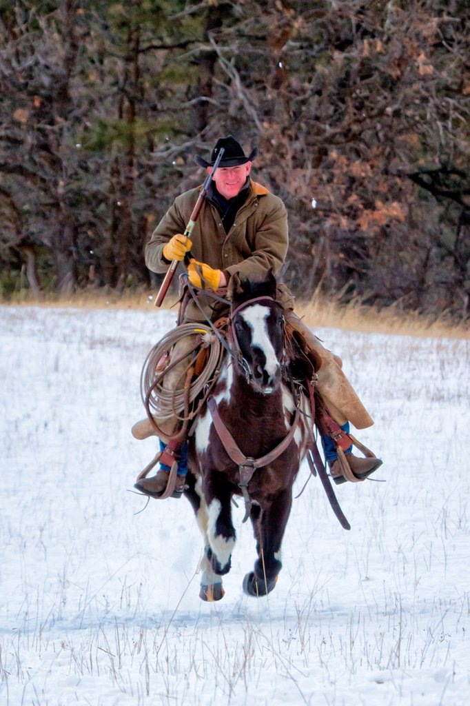 Stock Photo: 1566-981984 Cowboy with rifle on galloping horse