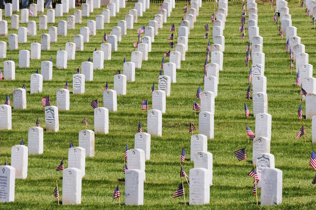 Stock Photo: 1566-982194 A grid of grave stones at Golden Gate National Cemetery on Memorial Day 2006, California, USA