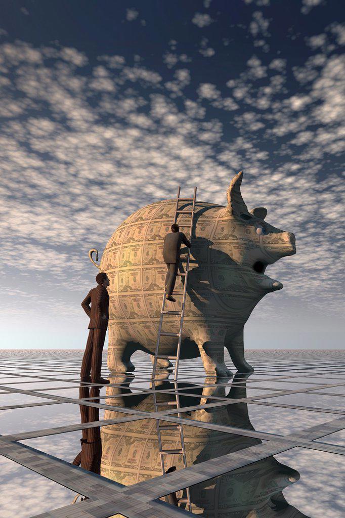 Stock Photo: 1566-982373 Businessman climbing toward financial success