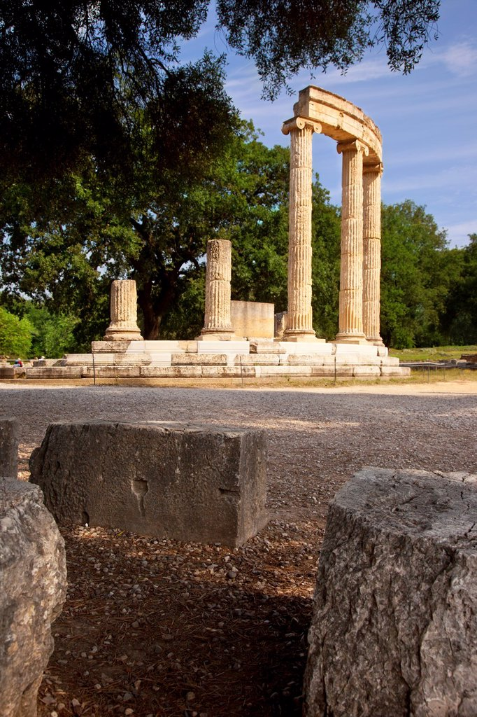 Ruins of the Philippeion in Olympia Greece - home to the original Olympic Games, starting in 776 BC : Stock Photo