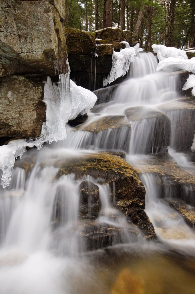 Stair Falls along Bumpus Brook during the spring months in Randolph, New Hampshire USA : Stock Photo