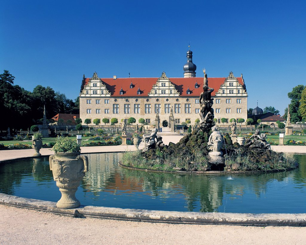 Stock Photo: 1566-983504 D-Weikersheim, Tauber, Tauber valley, Baden-Wuerttemberg, Weikersheim Castle, Hohenlohe, renaissance, baroque, castle gardens, Hercules spring, Heracles well
