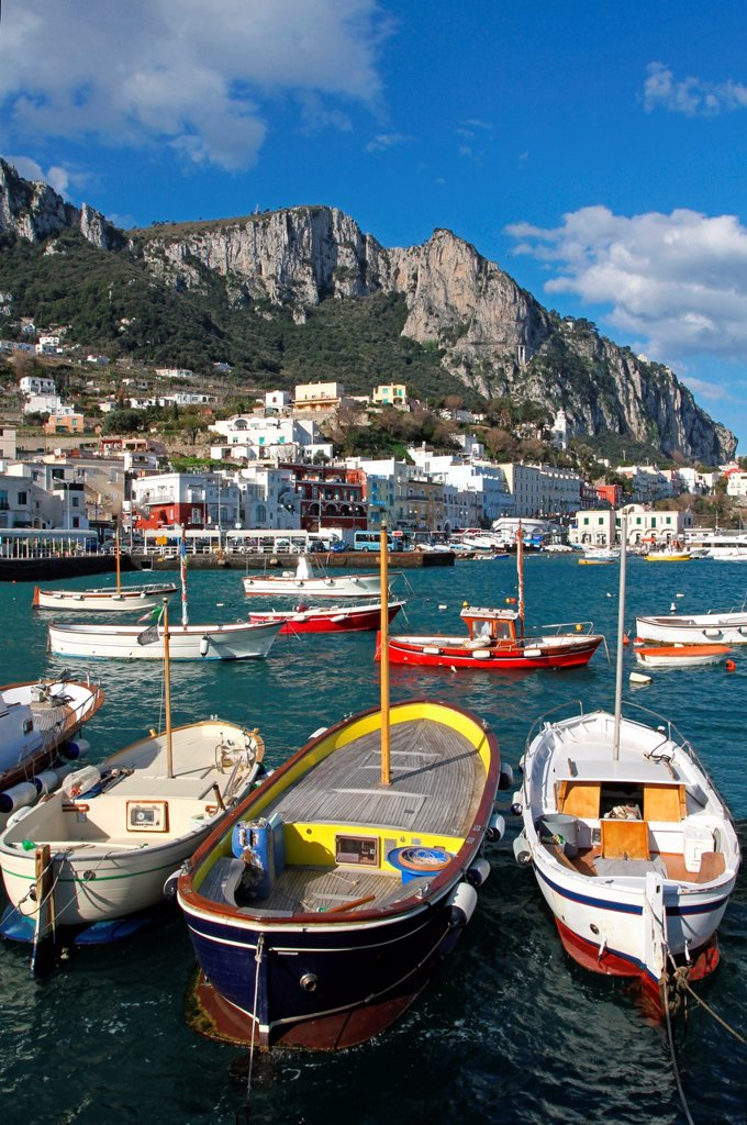 Europe, Italy, Capri, Marina Grande´s port : Stock Photo
