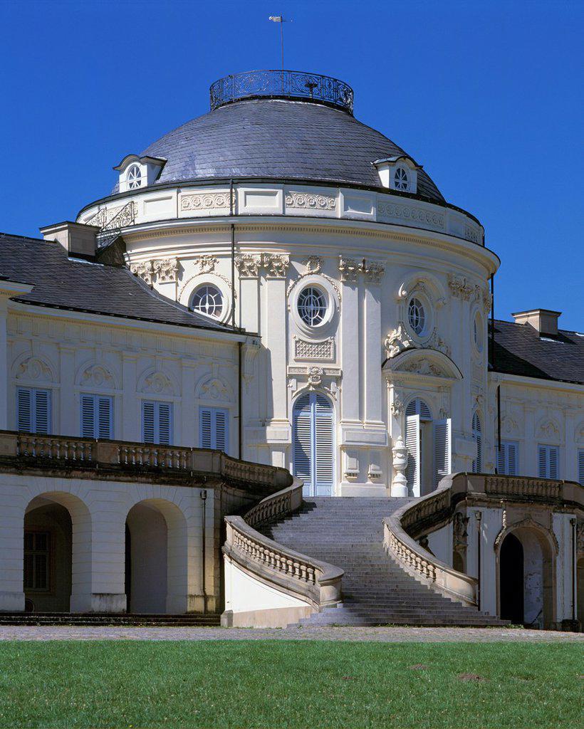 Stock Photo: 1566-983807 D-Stuttgart, Neckar, Baden-Wuerttemberg, castle Solitude, Hermitage Solitude, rococo, outside staircase, stairway