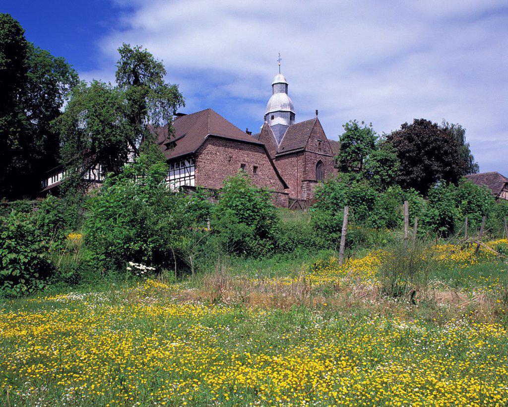 Stock Photo: 1566-983818 D-Negenborn, Samtgemeinde Bevern, nature reserve Solling-Vogler, Solling, Vogler, Ith, Weserbergland, Lower Saxony, Amelungsborn Abbey, Amelunxborn, Cistercian abbey, monastery church Saint Mary