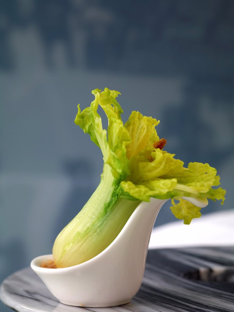 Stock Photo: 1566-984052 A ´Jadeite Cabbage´ created with Bok Choy topped with Shrimp  A specialty dim sum dish