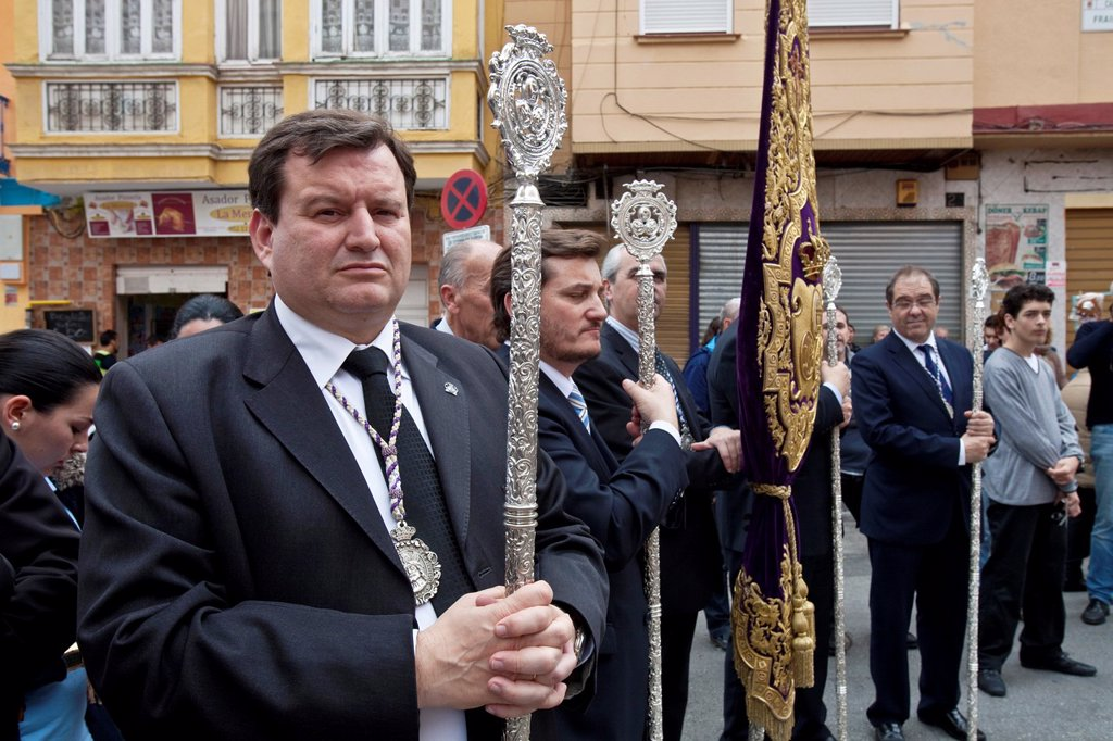Stock Photo: 1566-984062 Local Dignitaries, Semana Santa Holy Week Malaga, Andalusia, Spain
