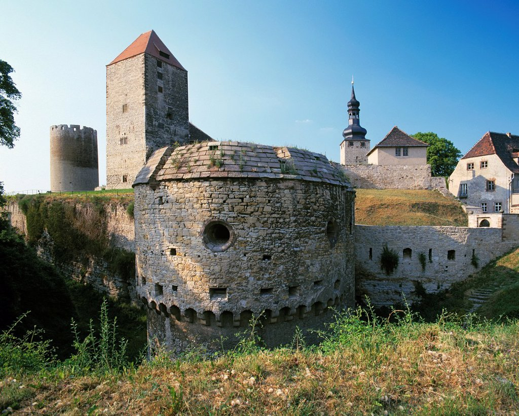 Stock Photo: 1566-984151 D-Querfurt, Harz Foreland, nature reserve Saale-Unstrut-Triasland, Saxony-Anhalt, Middle Ages, castle, fortress, defence tower Dicker Heinrich, Marterturm, South Bastion Paris Tower
