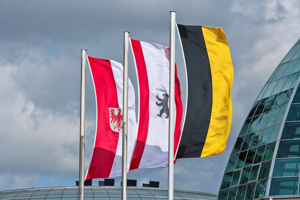 Flying flags on a rooftop, Bremerhaven, Germany, Europe : Stock Photo