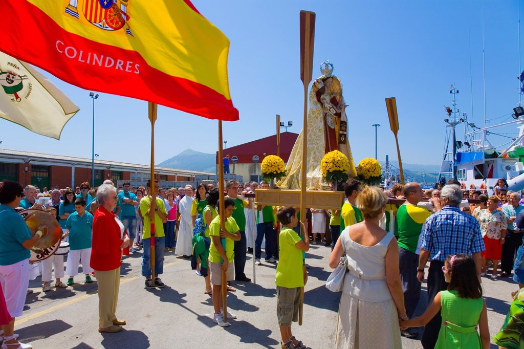 Stock Photo: 1566-984855 procession in Virgen del Carmen day or Carmen virgin 16-July  Colindres, Cantabria, Spain