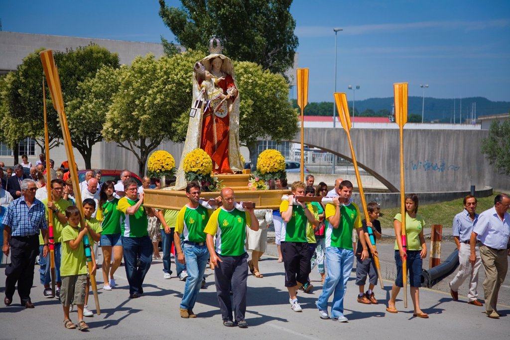 procession in Virgen del Carmen day or Carmen virgin 16-July  Colindres, Cantabria, Spain : Stock Photo