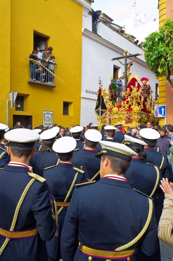 La Lanzada brotherhood music band during Holy Week in Seville, Andalusia, Spain : Stock Photo