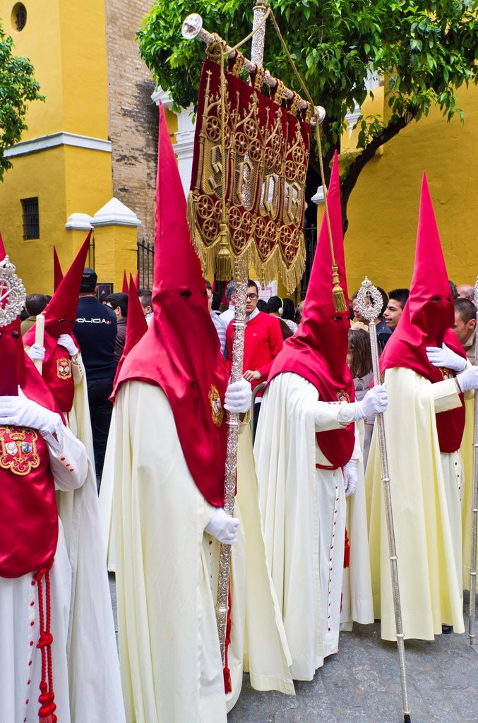 La Lanzada brotherhood procession during Holy Week in Seville, Andalusia, Spain : Stock Photo