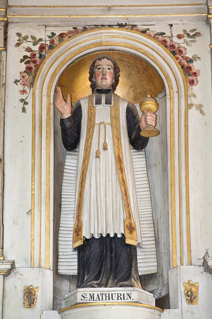 Stock Photo: 1566-984945 moncontour common, Church of St Mathurin, statue of St Mathurin, armor Coast, brittany, France