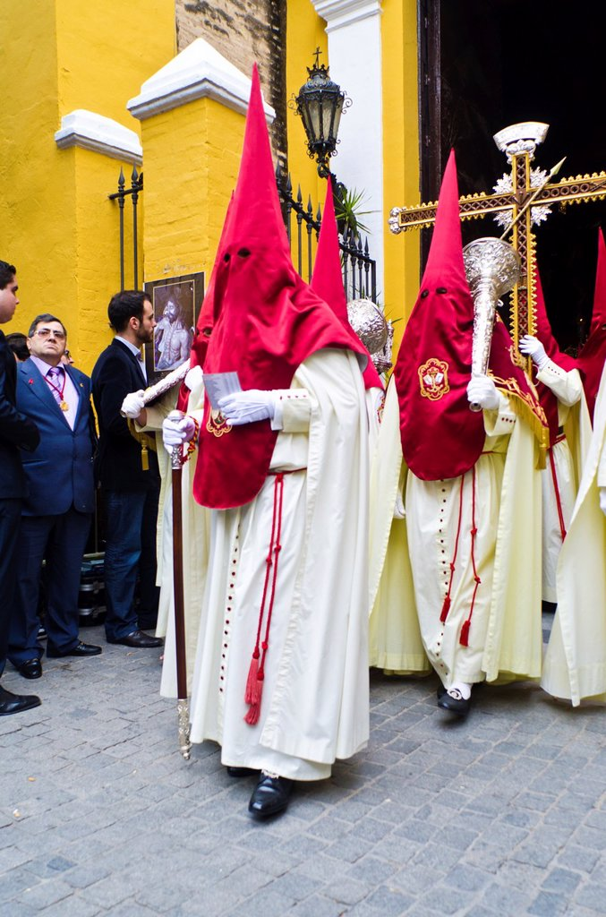 Stock Photo: 1566-985067 La Lanzada brotherhood procession during Holy Week in Seville, Andalusia, Spain