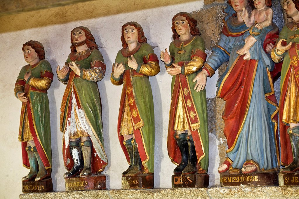 Stock Photo: 1566-985101 the seven saints in old market, armor Coast, brittany, France. Chapel of the seven saints Constantine, Serapion, John, Denis, Martinien, Malchus, Maximilian are the names of the seven brothers in the third century martyrs, refusing to renounce their faith. the seven saints in old market, armor Coast, brittany, France. Chapel of the seven saints Constantine, Serapion, John, Denis, Martinien, Malchus, Maximilian are the names of the seven brothers in the third century martyrs, refusing to renounce