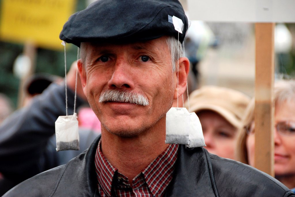 Stock Photo: 1566-986130 Tea Party participant, April 15, 2010, Boise, Idaho