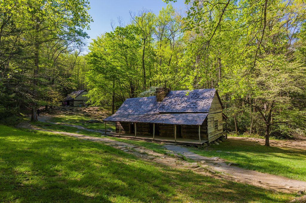 "Stock Photo: 1566-986192 Noah ""Bud"" Ogle homestead and farm on the Roaring Fork Motor Nature Trail in the Great Smoky Mountains National Park in Tennessee"