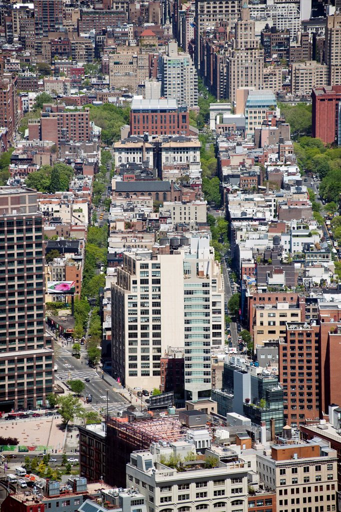 Stock Photo: 1566-986244 View of the Soho neighborhood of New York looking north from One World Trade Center