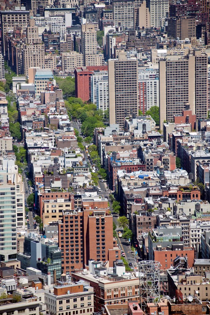 Stock Photo: 1566-986245 View of the New York neighborhoods of Soho and Greenwich Village seen from One World Trade Center